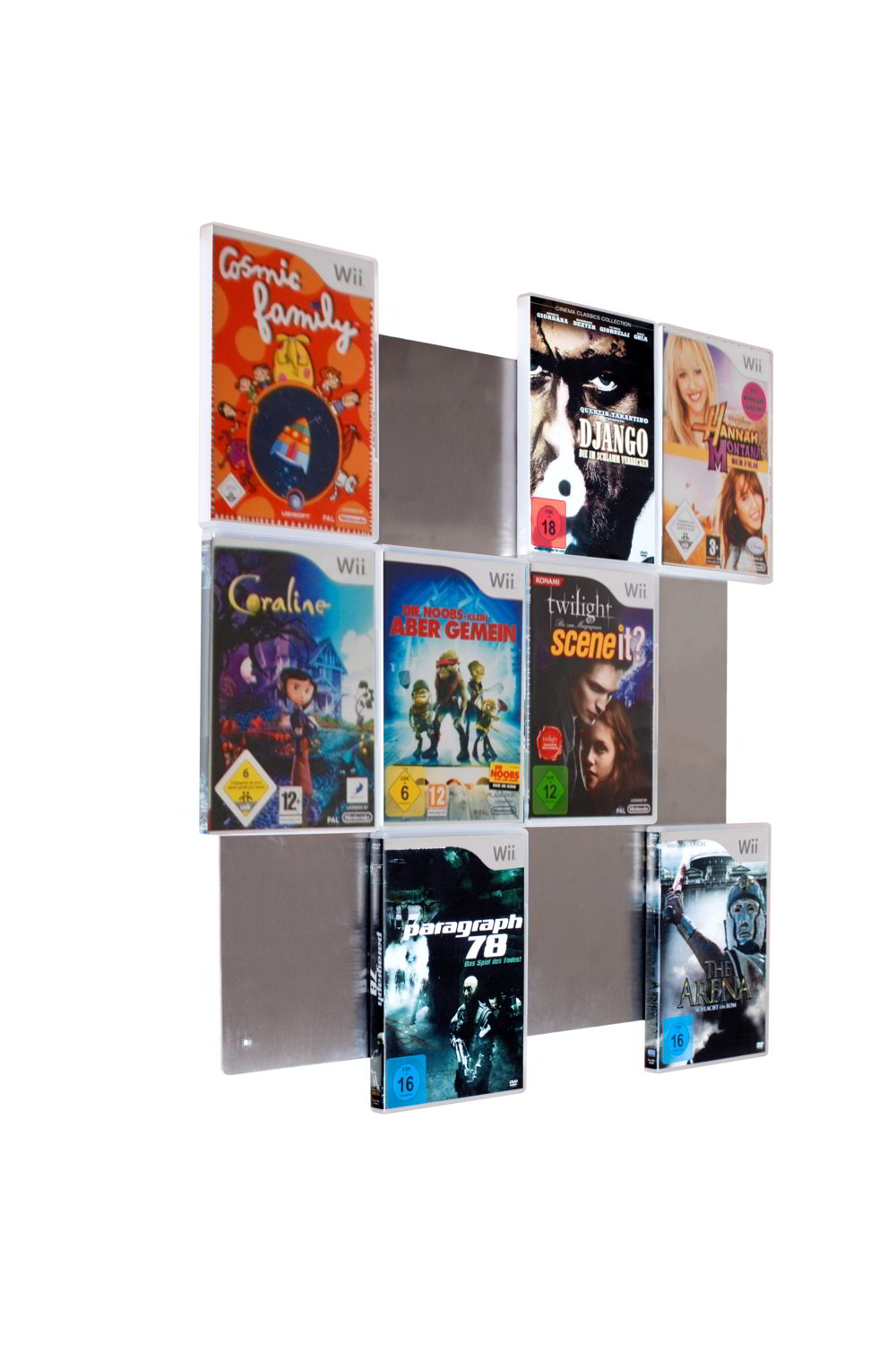 cd wall wii spiele regal system ihre sch nsten wii spiele als wandbild 634558379143 ebay. Black Bedroom Furniture Sets. Home Design Ideas