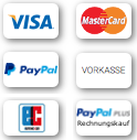 Safe payments by Paypal, Creditcards and Billsafe