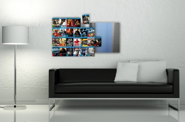 The picture shows two Blu-ray wall shelves placed side by side