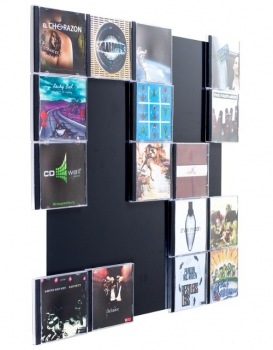 The picture shows our CD wall shelf CD Wall5x5 in black
