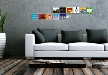 The image shows several horizontally juxtaposed CD Wall1x3 Wall Shelves