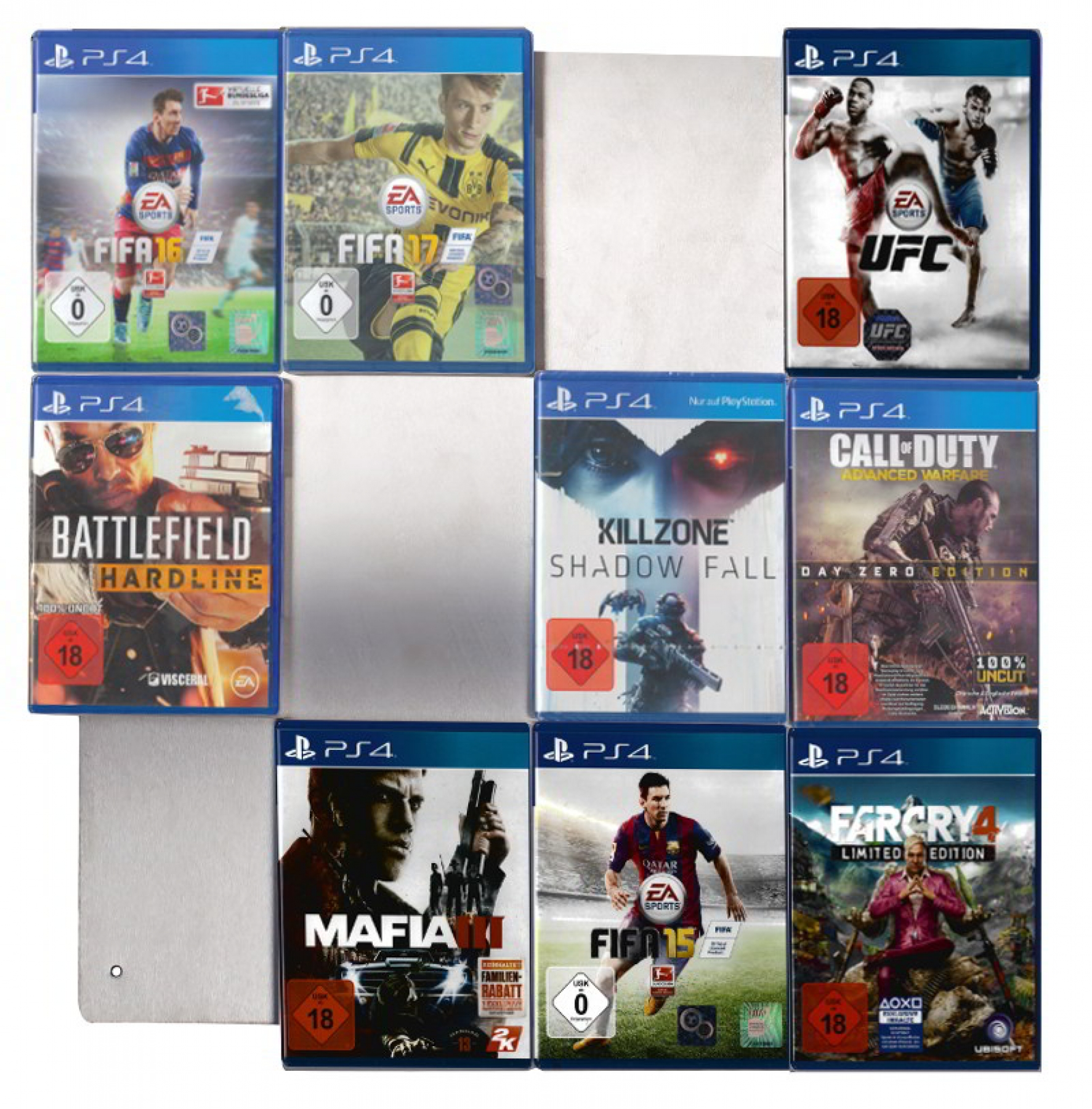 he picture shows the front view of a CD-Wall4x3 with 12 PS4 games fitted