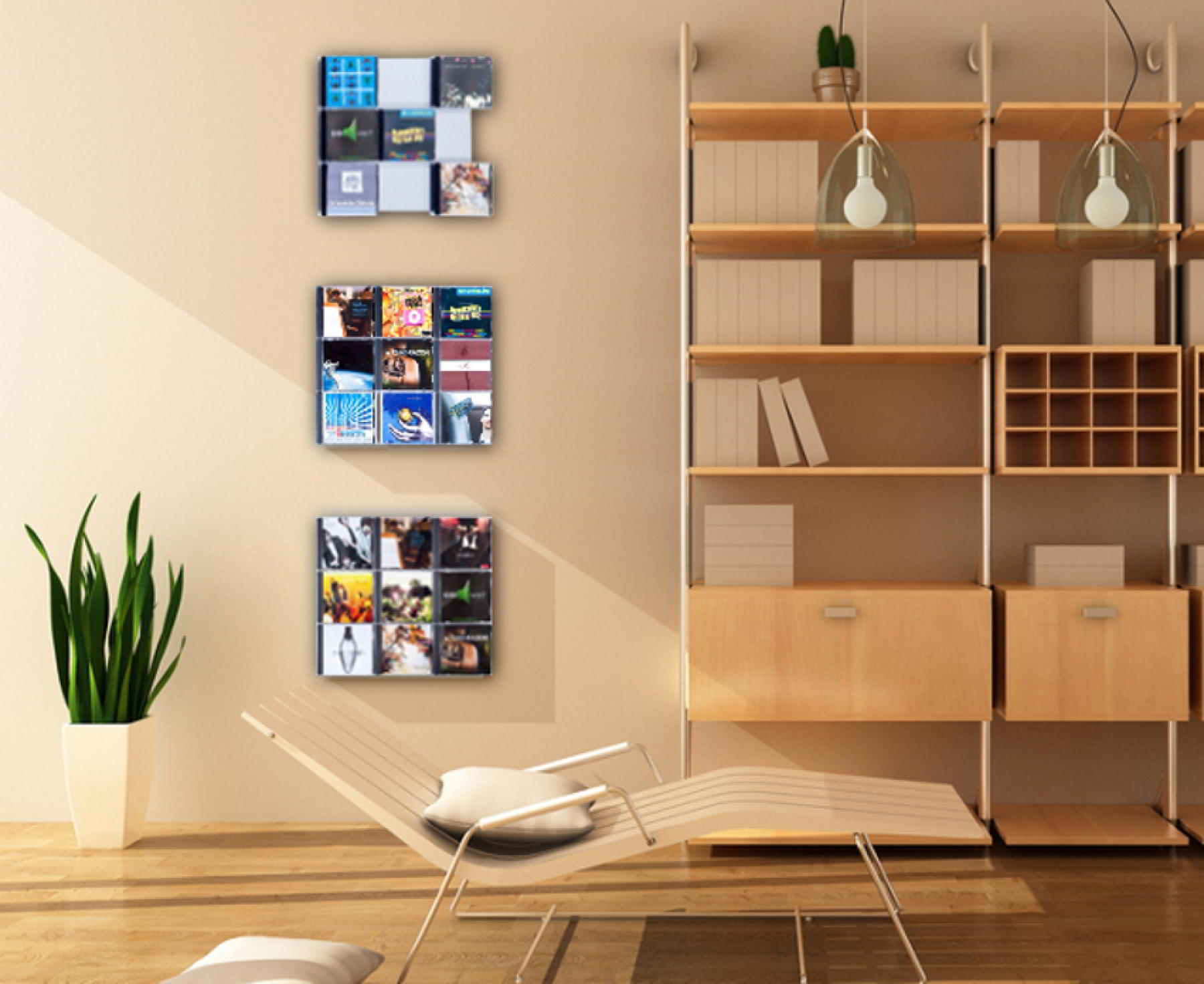 The picture shows three of our CD CD Wall3x3 wall shelves above the flat
