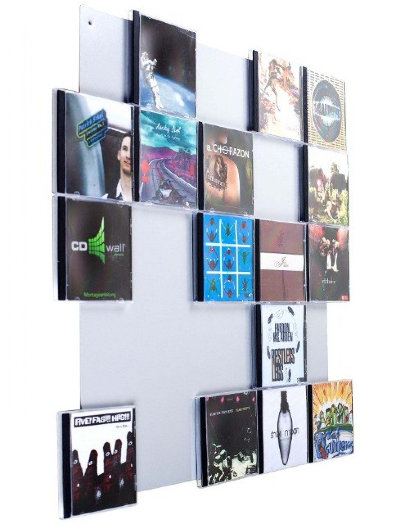 The picture shows our CD wall shelf CD Wall5x5 in whitealu