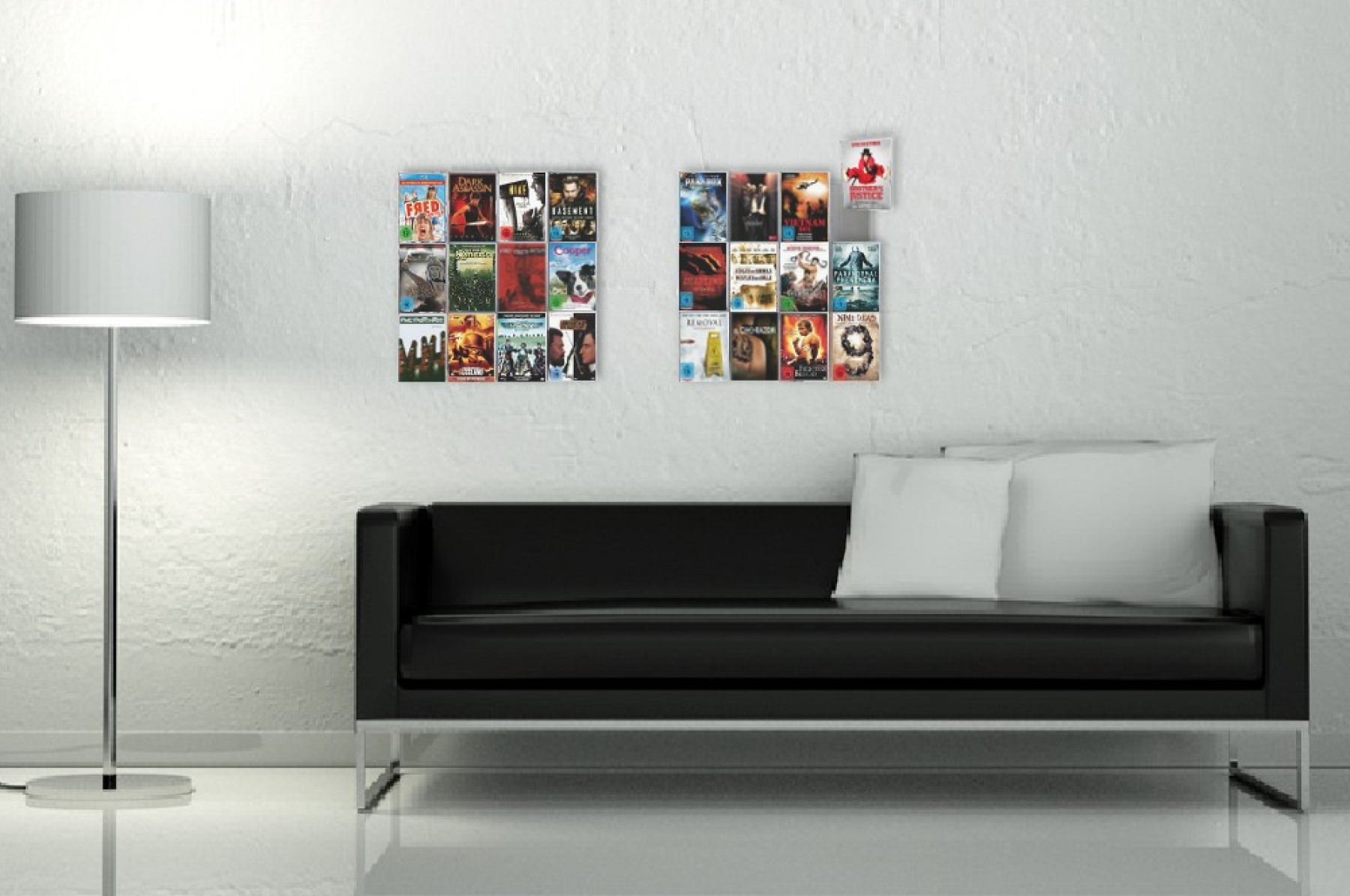 The picture shows two DVD Wall4x3 placed side by side