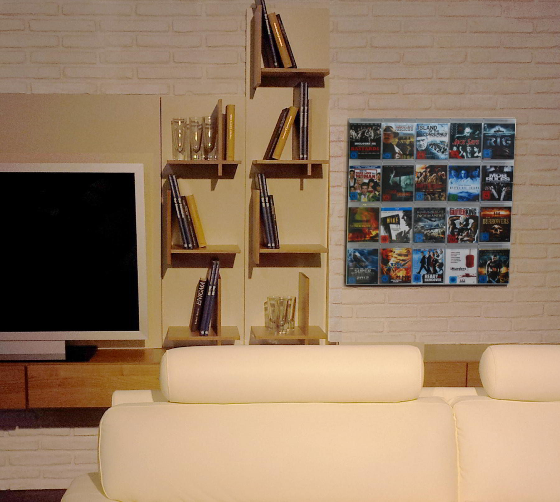 The picture shows our Wall5x4 DVD wall shelf in the living room next to the flat screen mounted